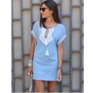Zara Denim Blue Cotton Embroidered Tunic Dress XS